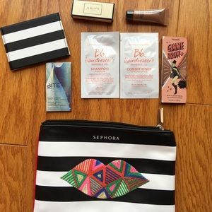 NWT Sephora makeup bag with beauty samples